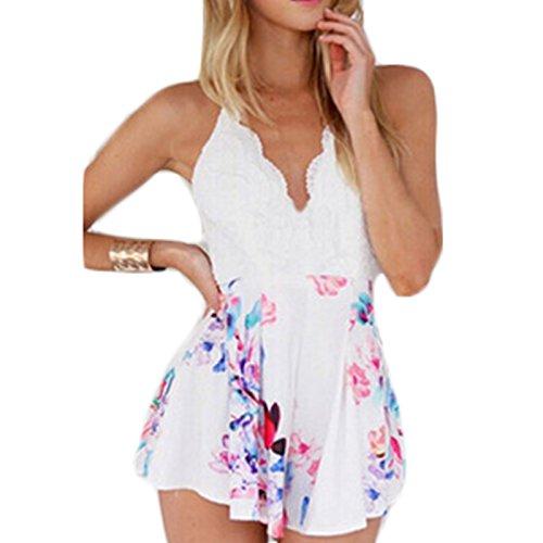Damen ärmellos V-Ausschnitt Rückenfrei Trägerlos Sling Spleiß Print Jumpsuit Siamesische Hose Kleid Beachwear Freizeitkleid