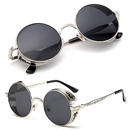 Sw de Punk Fashion Vintage Gafas Redondo Logres Gafas Steampunk polarizadas sol Hombre Eyewear de Mujer Moda sol Mirrored ITnx1wqw