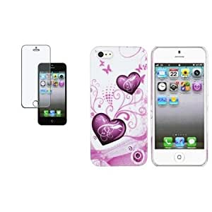 Quaroth CommonByte White/Pink Heart w/Butterfly Hard Case+Anti-Glare Guard For iPhone 5 5th 5G
