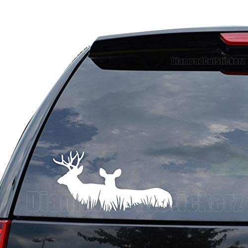 (Deer Family Buck Hunting Decal Sticker Car Truck Motorcycle Window Ipad Laptop Wall Decor - Size (07 inch / 18 cm Wide) - Color (Gloss White))
