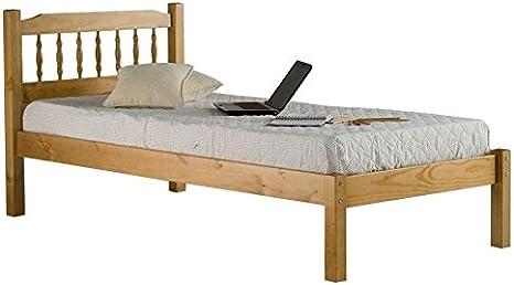 Casa fuente – 3 ft Single Base de madera maciza cama marco 90 ...