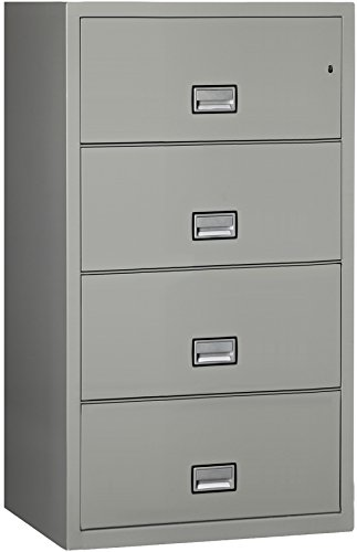 Phoenix Lateral 31 inch 4-Drawer Fireproof File Cabinet with Water Seal, Gray ()