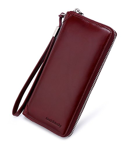 Italian Leather Clutch Wallet (Women Zippered Wax Genuine Leather Wallet RFID Blocking Clutch With Wrist Strap (Wine red))
