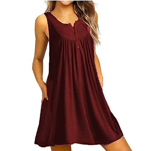 NEARTIME Mini Dresses for Women, Ladies Solid Color Casual Tanks O-Neck Button Sleeveless Loose Evening Party Skirts ()