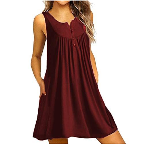 YKARITIANNA Women's Sleeveless Loose Plain Dresses Casual Short Dress with Pockets for Cozy Summer Wine