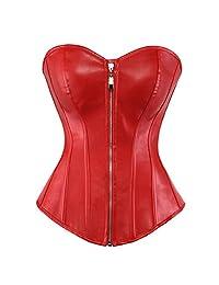 Grebrafan Plus Size Lace up boned Zip Faux Leather Overbust Corsets
