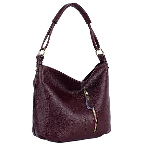 Front Soft Style Women's Bag Purple Pocket Handbag Purple Genuine Yaluxe Leather Cowhide Hobo Shoulder w4qtxF5