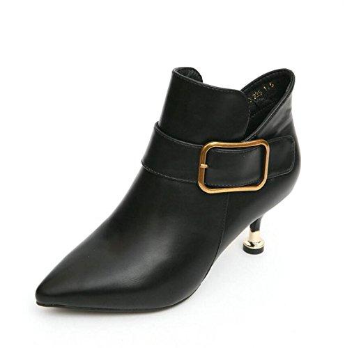 KHSKX-Black 5Cm England Fan Metal Buckle Tip Fine With Short Boots Comfortable Small Talk To Martin Boots Tide 36 w6RcQa