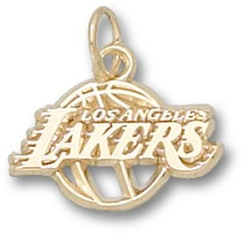 NBA Los Angeles Lakers Logo Pendant 3/8 Inch - 14K White Gold by Logo Art