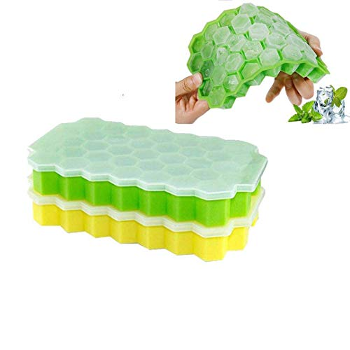 Ice Cube Trays,2 Pack Food Grade Silica Gel Flexible and BPA Free 74 Cubes Ice Trays with Lid Stackable Mini Cocktail Whiskey Ice Cube Mold Storage Containers-Green/Yellow -