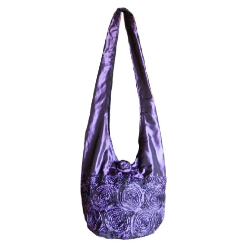 BTP! Silk Sling Crossbody Shoulder Bag Purse Purple Rosette Flower SP2 (Rosette Sling)