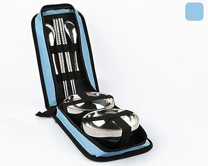 Cubertería doble para uso al aire libre, vajilla portátil para acampada, doble bolsa de