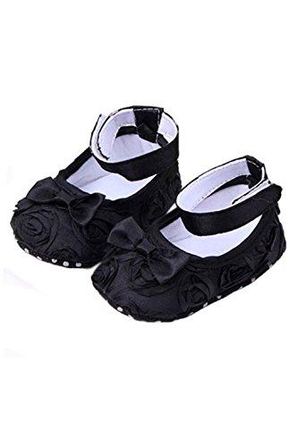 Zapatos - SODIAL(R)zapatos comodos de nino pequeno de princesa antideslizantes(6-12 meses, Negro)