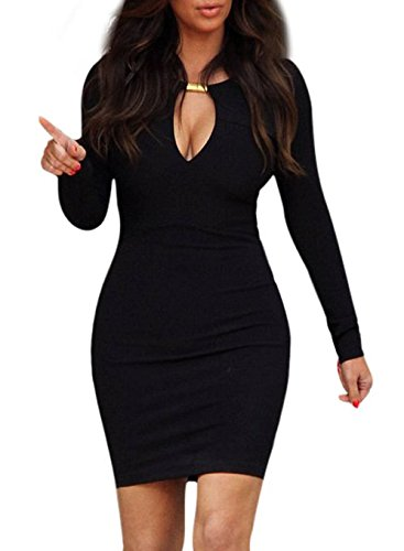 Miusol Keyhole with Metal Buckle Body Con Party Dress,ship From Us