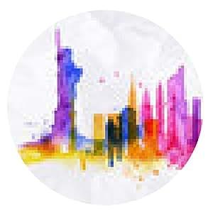 alfombrilla de ratón Silueta de la ciudad de Nueva York superposición - ronda - 20cm
