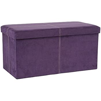 Attrayant FHE Group Microsuede Folding Storage Ottoman Bench, 30 By 15 By 15 Inches,  Purple