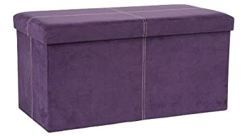 Excellent Fhe Group Microsuede Folding Storage Ottoman Bench 30 By 15 By 15 Inches Purple Gamerscity Chair Design For Home Gamerscityorg