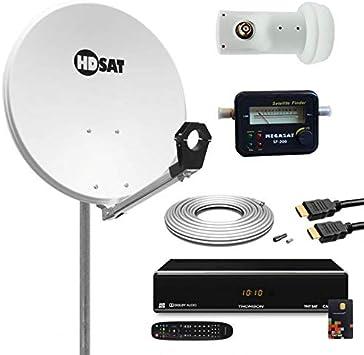 Promo Kit Antena Parabólica 60 cm + receptor Satellite TNTSAT (Astra) + LNB + 20 m Cable Coaxial + SATFINDER