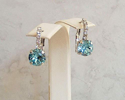 Aqua Blue Round Crystal Lined Leverback Earrings Simulated Aquamarine March Birthstone Gift Idea RP