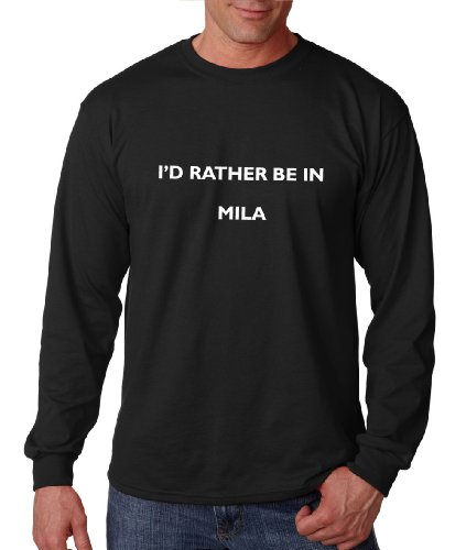 I'd Rather Be in Mila Algeria City Country Long Sleeve T-Shirt Tee Top Black M