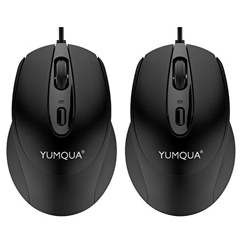 YUMQUA G222 Silent Mouse USB Wired 2 Pack, Office & Home Optical Computer Mouse with 2 Adjustable DPI(800/1200), 4…