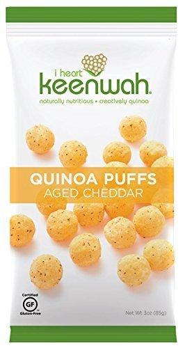 (I Heart Keenwah Quinoa Puffs, Aged Cheddar, 3 Oz, Gluten-Free (Pack of 12))
