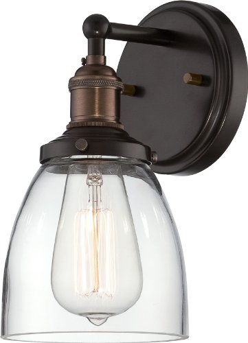 Nuvo Lighting 60/5514 Vintage Incandescent One Light Wall Sconce Cone Clear Glass Rustic Bronze