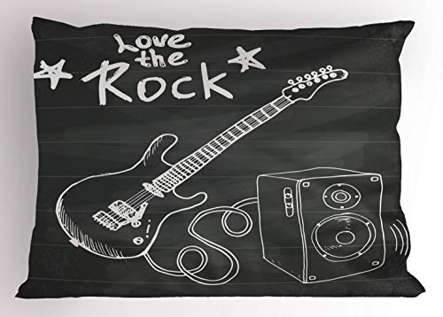 Ambesonne Guitar Pillow Sham, Love The Rock Music Themed Sketch Art Sound Box and Text on Chalkboard, Decorative Standard Size Printed Pillowcase, 26