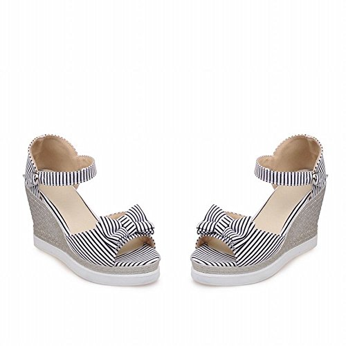 Charm Foot Womens Fashoin Stripes Open Toe Wedges Sandal Black y2Pz0W