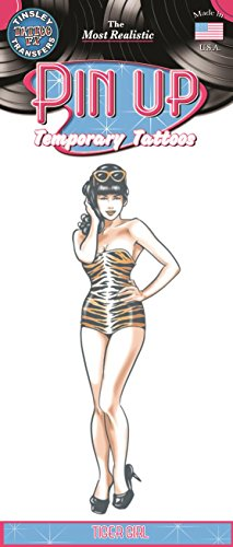 Tinsley Transfers Tiger Girl Pin Up Temporary FX Tattoo ()
