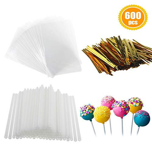 600 PCS Cake Pops Kit - 200 PCS Lollipop Sticks, 200 PCS Wrappers and 200 PCS Twist Ties for Candies, Chocolates, Cookies, Lollipops, (Marshmallow Chocolate Lollipop)