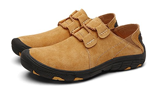 Tda Mens Mode Loisirs En Cuir Randonnée En Plein Air Basse Brassard Sneakers Jaune