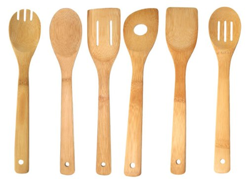 - Home Basics 6 Piece Bamboo Kitchen Cutlery Tool Set