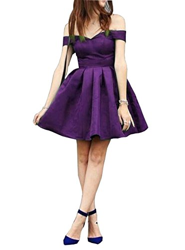 Purple Homecoming Short DMDRS Prom Satin Dresses Women's Off Knee Length Shoulder rY8ZvqwY
