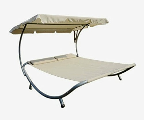 Cheap  Hammock Bed Lounger Double Wide Patio Pool With Sun Shade Off White..
