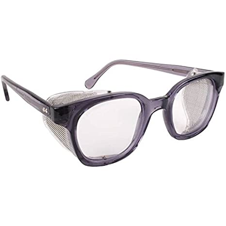 79cec3b51c9b3 Bouton Traditional Safety Glasses Smoke Frame Mesh Sideshields Clear Lens -  - Amazon.com