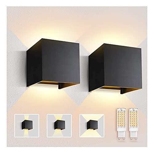 Imoli 2 Stücke Wandlampe mit Austauschbarer G9 LED Lampe Warmweiß 3000K Aluminium LED Wandleuchte Innen|Aussen Einstellbarer Abstrahlwinkel Wandbeleuchtung für Schlafzimmer Badezimmer Gang(Schwarz)