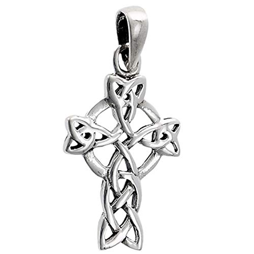 (Celtic Cross Pendant .925 Sterling Silver Circle Viking Twisted Medieval Charm Vintage Crafting Pendant Jewelry Making Supplies - DIY for Necklace Bracelet Accessories by CharmingSS)