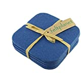 Square Drink and Beverage Coaster Set in 5mm Thick Merino Wool Felt- Wedgewood
