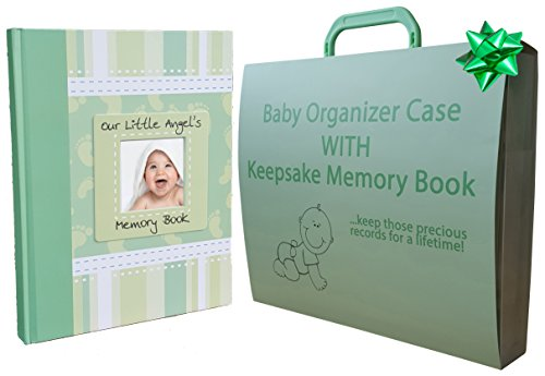 2-in-1 Memory Book / Baby Document Briefcase with Bonus eBook | Family Or Shower Gift Set – Popular MINT GREEN | Have Keepsakes Kept In Order, Safe And Secure
