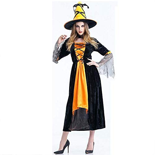 (Fashion-Cos1 Adult Costume Halloween Party Women Witch Costume Sexy Magician Performances Black Dress with Hat (Color :)