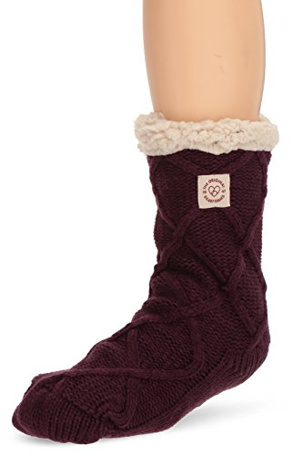 Dearfoams Womens Lattice Cable Blizzard Sock Slipper