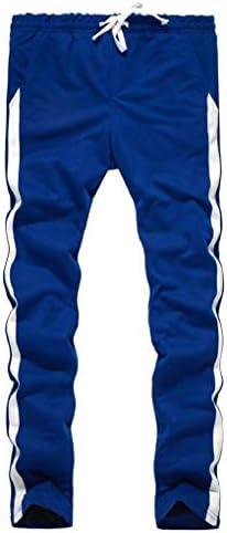 Candiyer メンズバギースプライステーパストライプ巾着プラスサイズジョガーパンツ