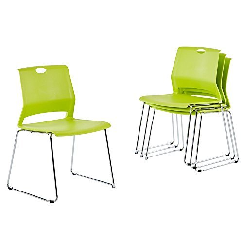 Conference Meeting Chair (Sidanli Plastic Stacking Chair for Business, Modern Design Dining Chair for Home, Green (Set of 4))