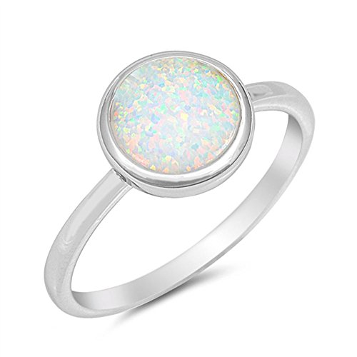 Solid Round Lab Created White Opal .925 Sterling Silver Ring Size 6
