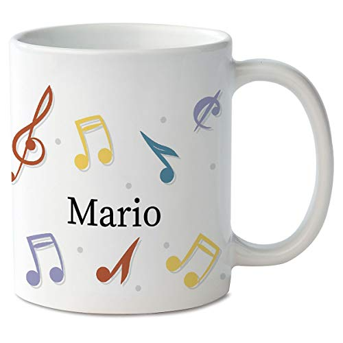 CURRENT Music Notes Personalized Mug - 11 Ounce, Custom Coffee Cup, Microwave Safe, Novelty -