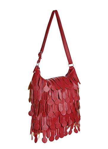 Women's Butter Soft Faux Leather Tote Handbag with Adjustable Shoulder Strap & Wide Fringes