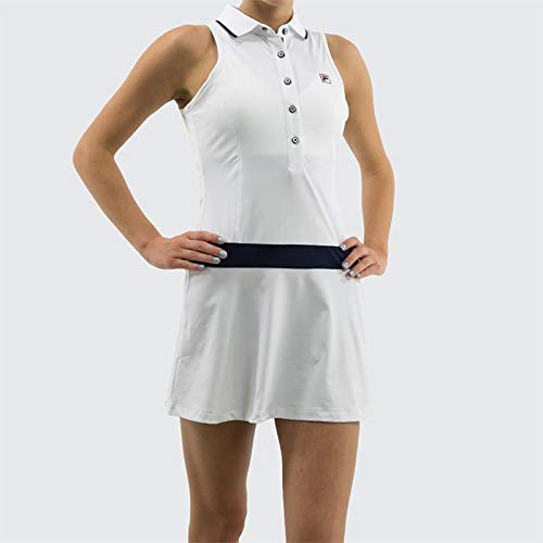 Fila Heritage Polo Dress - White/Navy - Medium