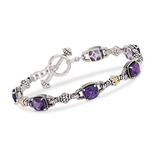 Ross-Simons 4.90 ct. t.w. Amethyst Bracelet in Sterling Silver and 14kt Yellow Gold -