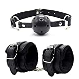 Lsinyan 2 Pcs Open Breathable Mouth Ball and Soft Cuffs Joyful Toys Black